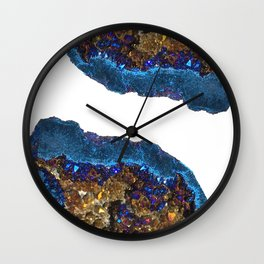 Agate metallic blue & gold Wall Clock