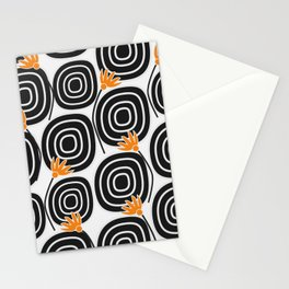 Abstract circles and cute little flowers Stationery Cards