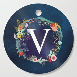 Personalized Monogram Initial Letter V Floral Wreath Artwork Cutting Board