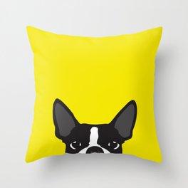 Boston Terrier Yellow Throw Pillow