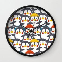 Happy Penguin Family Wall Clock