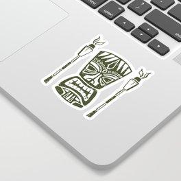 Tropical Tiki - Cream & Aqua Sticker