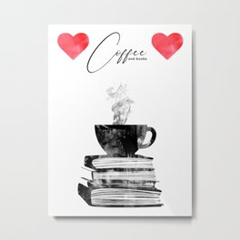 Cup of coffee and books Metal Print