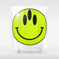 third eye Shower Curtains featuring third eye smiley by Bente