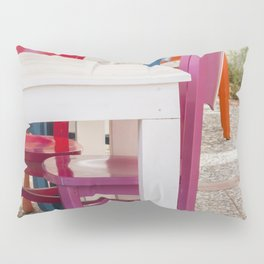 Colorful chairs and white tables Pillow Sham