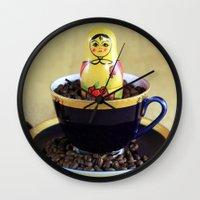 russian Wall Clocks featuring Russian Coffee by Falko Follert Art-FF77