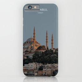 Istanbul at Twilight, Turkey Travel Artwork iPhone Case