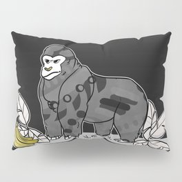 Gorilla & Bananas,Funny Wild Animal Graphic,Black & White with Brass Gold Metallic Accent Cartoon Pillow Sham