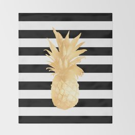 Gold Pineapple Black and White Stripes Throw Blanket