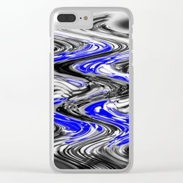 A Black and White Flow With Blue Clear iPhone Case