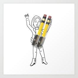 Rocker girl Art Print