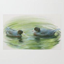 Blue Ducks in pond Rug