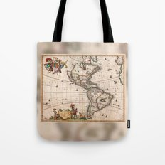 1658 Visscher Map of North & South America with enhancements Tote Bag