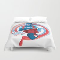 winter soldier Duvet Covers featuring The Winter Soldier by Florey