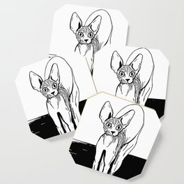 Black and White Sphynx Cat Line Drawing - Sphynx Lovers Gift - Naked Cat - Wrinkly Kitty Coaster
