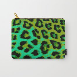 Aqua and Apple Green Leopard Spots Carry-All Pouch