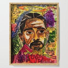 rip nip,rapper,rap,lyrics,music,album,poster,shirt,memorial,hiphop,wall art,painting,fan art,cool Serving Tray