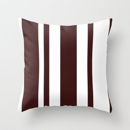 Mixed Vertical Stripes - White and Dark Sienna Brown Throw Pillow