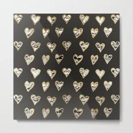 Modern Chic Black White Marble Gold Hearts Metal Print