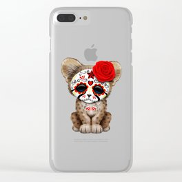 Red Day of the Dead Sugar Skull Cheetah Cub Clear iPhone Case