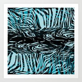 Zebra Design Blue Art Print