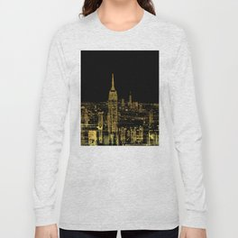 Abstract Gold City  Skyline Design Long Sleeve T-shirt