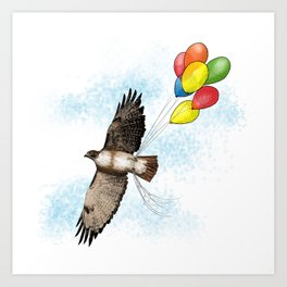 Hawk on his way to a party   Color Art Print