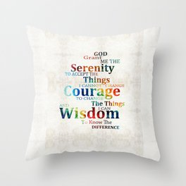 Colorful Serenity Prayer by Sharon Cummings Throw Pillow
