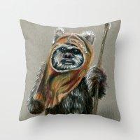 ewok Throw Pillows featuring Ewok by Sam Luotonen