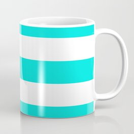 Bright turquoise - solid color - white stripes pattern Coffee Mug