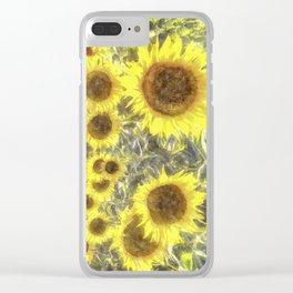 Sunflower Fields Of Summer Watercolour Clear iPhone Case