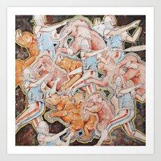Rhinos and Elephants Having an Orgy while Baseball Players Hit Homers Art Print
