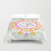 ohm Duvet Covers featuring Ohm / OM  by HollyJonesEcu