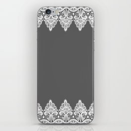 White Vintage Lace Gray Background iPhone Skin