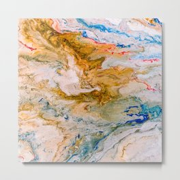 Marble Effect Acrylic Pour Abstract Metal Print