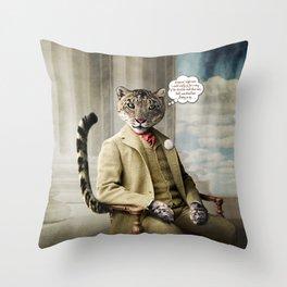 Sir Sebastian Snow Leopard Throw Pillow