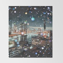 New York City Lights Manhattan Rooftop City Views Throw Blanket