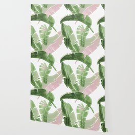 Tropical Leaves Green And Pink Wallpaper