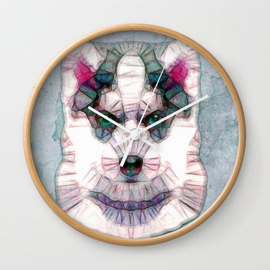 abstract husky puppy Wall Clock