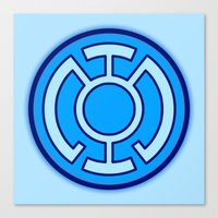 green lantern Canvas Prints featuring Green Lantern: Blue Lantern by The Barefoot Hatter