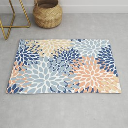 Floral Print, Coral, Peach, Light Blue, Navy, Colourful Prints Rug