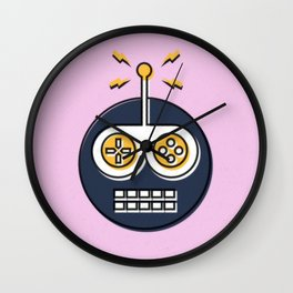 Robots Welcome - Pink 1 Wall Clock