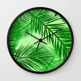 Palm Leaf Print, Emerald and Light Lime Green Wall Clock