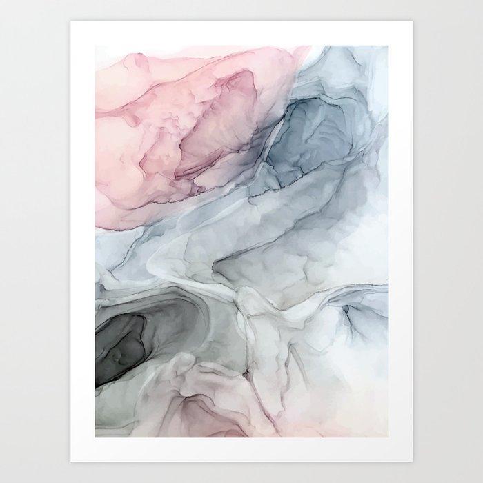 Pastel Blush, Grey and Blue Ink Clouds Painting Kunstdrucke