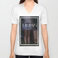 1975 V-neck T-shirts featuring 1975  by John Parvin McBride