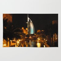 arab Area & Throw Rugs featuring Burj Al Arab Hotel - Dubai by Graham Taylor Photography Services