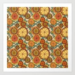 Groovy Marigold Floral Art Print