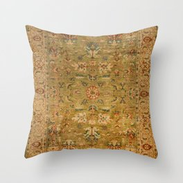 Persian 19th Century Authentic Colorful Muted Green Yellow Blue Vintage Patterns Throw Pillow
