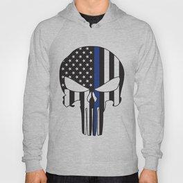 Punisher Skull American Flag Thin Blue Line Hoody