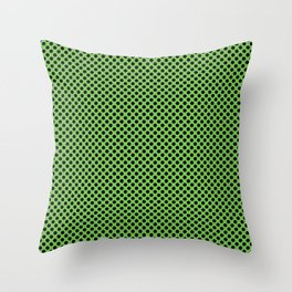 Green Flash and Black Polka Dots Throw Pillow